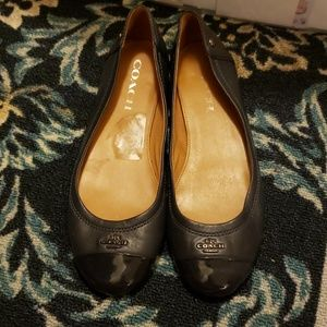 Navy Blue Coach Flats